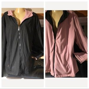 Jackets & Blazers - Reversible black/ pink cotton xl with hood